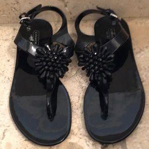 Coach Hilda Jelly Jewel Pom Pom thong sandals Sz8b